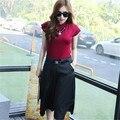 Portão leste de verão 2015 Coreano mulheres Haren calças são duas peças femininas terno de manga curta