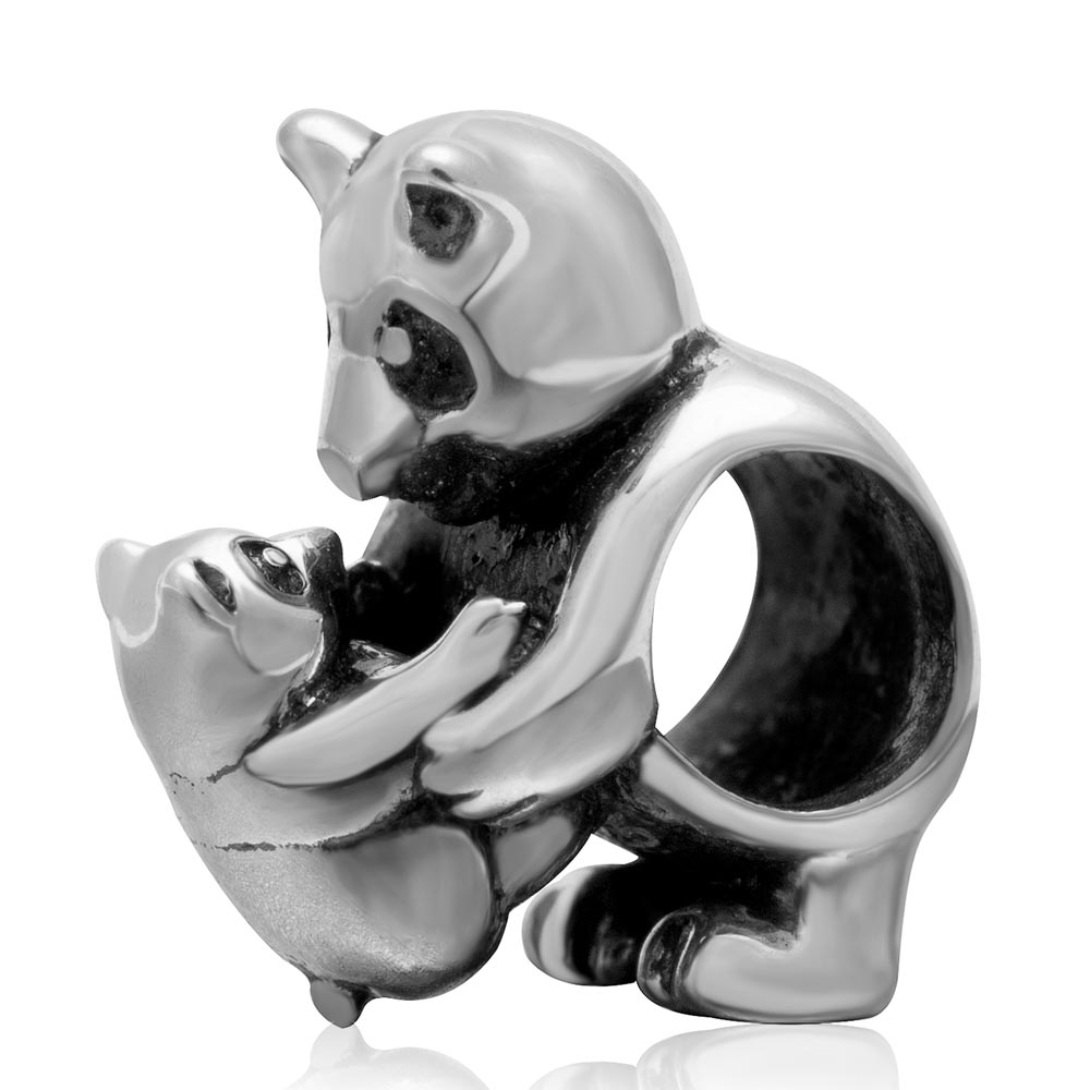 Genuine Panda Mother And Son Animal Beads 925 Silver Charms Fit Original Europe Pendant Bracelet Diy Jewelry Making Gift