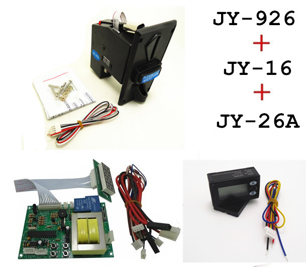 JY926+JY16+JY26A coin operated time control device for cafe kiosk, multi coin selector with 220V timer board and reset counter