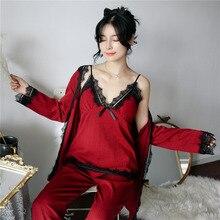 a3f8b934c Outono Inverno 3 peça Conjunto Sexy Roupão de Banho Das Mulheres Pijamas  Set Novo Camisola Rendas Sleepwear Roupa Em Casa Salão .