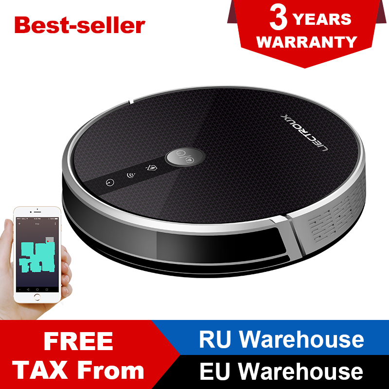 LIECTROUX C30B Robotic Vacuum Cleaner 2D Map Navigation 3000Pa Suction Memory Map Shown on WiFi App