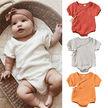 100 Cotton Soft Baby Clothes Unisex Girl&Boy Lace Up Baby Rompers Toddler Loose Solid Summer New Born Baby Clothes Outfit 0-24M(China)