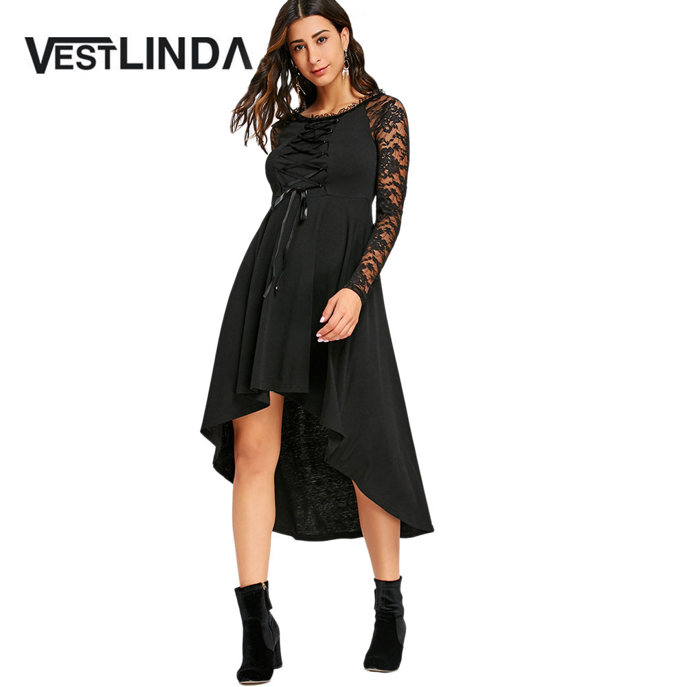 VESTLINDA Lace Up High Low Hem Dresses 2017 Winter Round Collar Long Sleeves  Gothic Women Black Party Dress Vestidos De Festa-in Dresses from Women s ... e020f0544c14