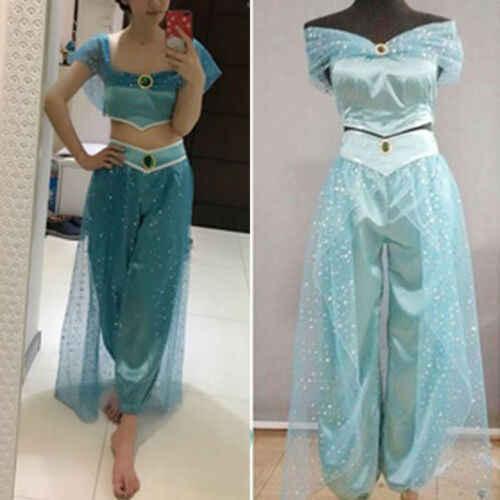Moda nueva princesa Jasmine Cosplay mujer chica disfraz de fiesta de lujo sólido conjuntos regulares