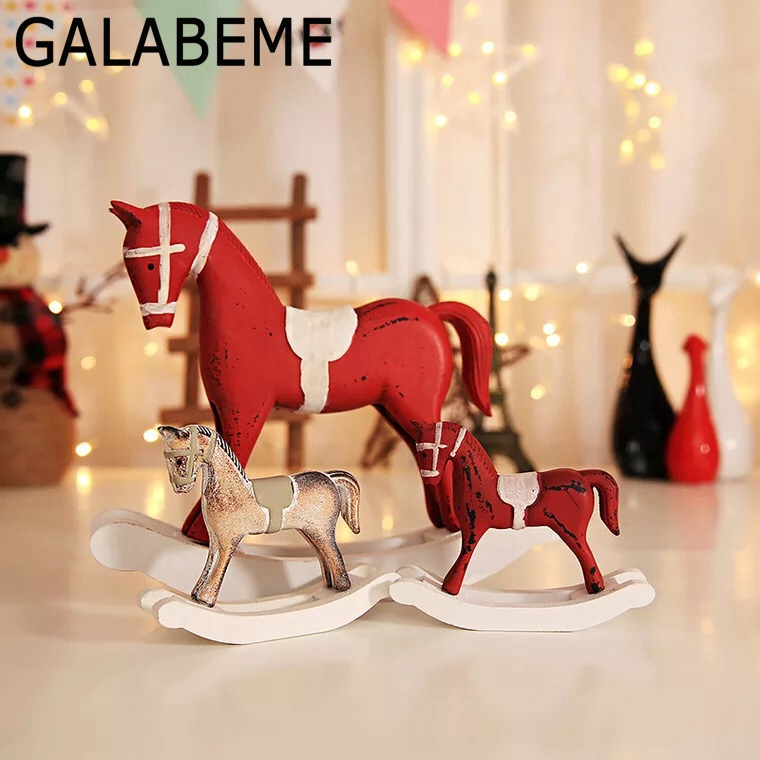 Galabeme 1set Wooden horse Ornaments Gifts For Children ...