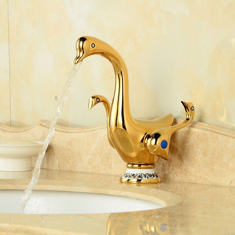 Cute Duck Shape Bathroom Basin Sink Faucet Dual Handles Brass Golden Mixer Taps jiqi stainless steel electric crepe maker plate grill crepe grill machine