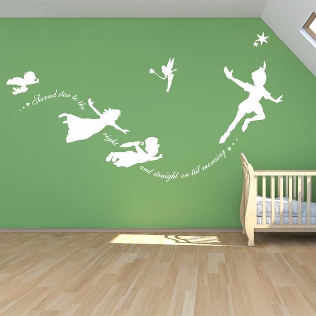 Peter Pan Muurtattoo Vinyl Stickers Babykamer Slaapkamer Muur Art  Mural Kids Muursticker Kamer Decoratie