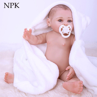 NPK 43cm 100% Full Silicone reborn baby doll toy like real 17inch soft body newborn babies doll Bebes reborn girls bonecas gift