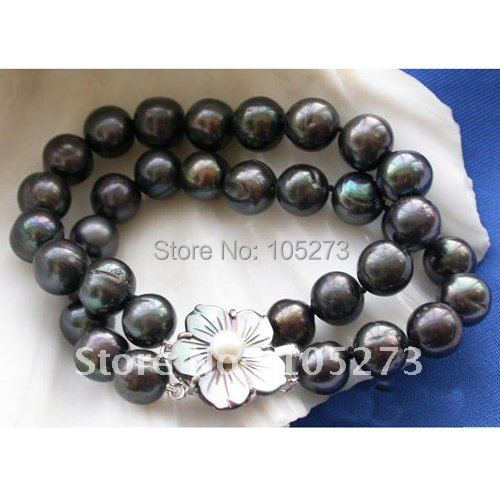 2ROW 12MM BLACK ROUND FRESHWATER CULTURED PEARL BRACELET SEA SHELL FLOWER CLASP WHOLESALE NEW FREE SHIPPING FN1040