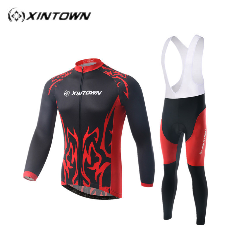 XINTOWN Spring Summer Men's Long Sleeve Cycling Jersey Sets Breathable 4D Padded Bicycle Sportswear Cycling Cloth MTB jersey set xintown new 2018 spring cycling jersey set long sleeve 3d gel padded sets bike clothing mtb protective wear cycling clothes sets
