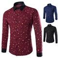 2015 новый 3 цвет бренда печатает звезды мода мужские рубашки с длинным рукавом slim-подходят свободного покроя социальный Camisas Masculinas M-XXL