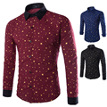 2015 New 3 color Brand Prints Stars Fashion Mens Dress Shirts Long sleeve Slim Fit Casual Social Camisas Masculinas M-XXL