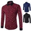 2015 nuevos 3 colores marca imprime estrellas moda para hombre Camisas de vestir de manga larga Slim Fit Casual Camisas Social Masculinas M-XXL