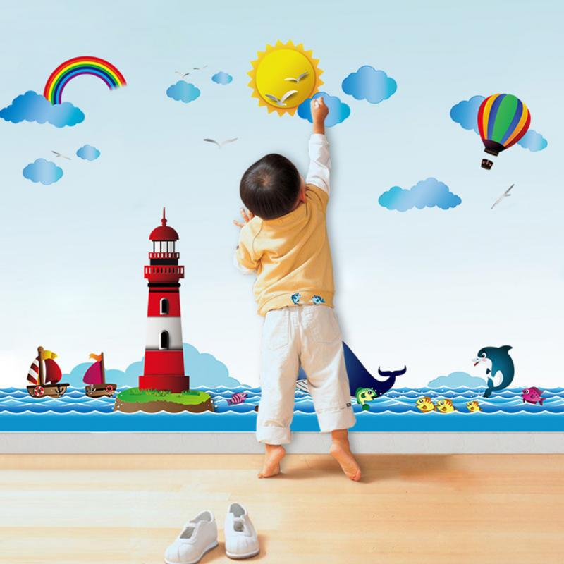 Rainbow Tower Balloon Wall Stickers For Kids Room Blue Sky Children