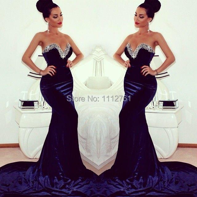 b145fa32ef21 2015 Mermaid Navy Blue Velvet Evening Dresses Sweetheart Beaded Crystals  EmbellishChapel Train Long Formal Long Prom Party Gowns