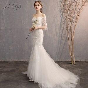 Image 3 - ADLN גבוהה באיכות התלקחות שרוול Applique חתונת שמלות Vestido דה Novia מתוקה תחרת בת ים הכלה שמלת שמלות לחתונה