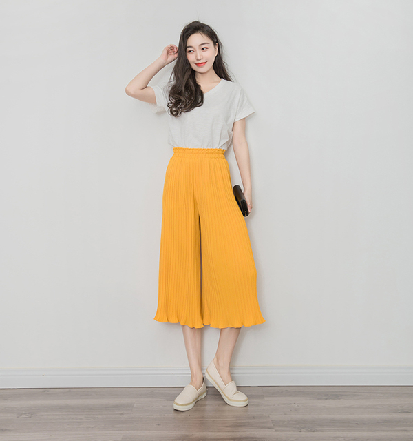 9ce467328aa Falbala Chiffon Pleated Wide-legged Pants Female Paragraph 7 Minutes Of  Pants In The Summer Of Thin Tall Waist Loose Casual Pant
