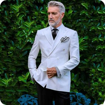 Hot Recommend Double Breasted White Groom Tuxedos Groomsmen Peak Lapel Mens Suits Blazers (Jacket+Pants+Tie) W:895