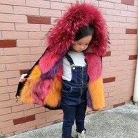 Модные Обувь для мальчиков Обувь для девочек лиса Мех животных пальто Мужские парки Зимняя Детская верхняя одежда с капюшоном толстый тепл