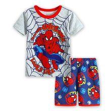 Детская Пижама с героями мультфильмов Одежда для малышей комплект: топ на бретельках+ штаны, Пижама для детей короткий рукав пижама для мальчика и девочек, одежда для сна, одежда для сна