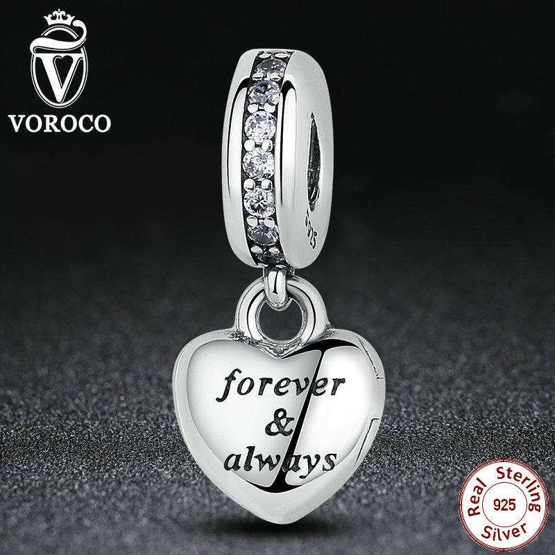 VOROCO Birthday Gift 925 Sterling Silver My Beautiful Wife Clear CZ Heart Pendants Charms fit Pandora