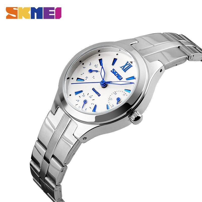 6915074c8c51c Mulheres SKMEI Relógio de Quartzo Moda Casual 6 Agulhas de Aço Inoxidável  Multifuncional Resistente À Água Pulseira Relogio feminino 9132