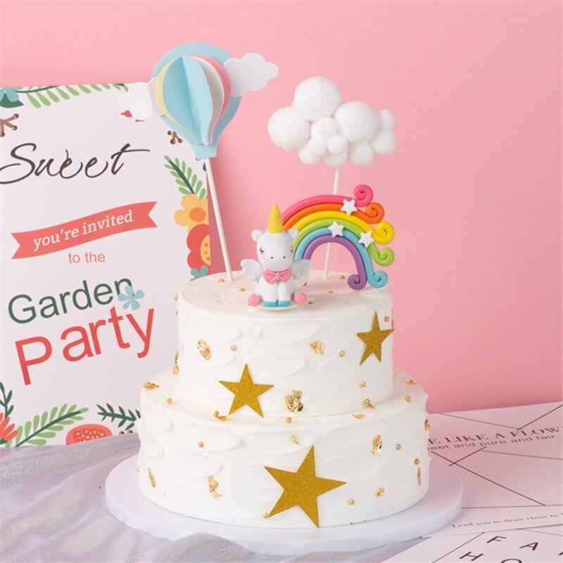 Rainbow Unicorn Cake Topper Birthday Wedding Cake Flags Cloud Balloon Cake Flag Birthday Party Baking Decoration Supplies