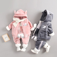 Baby Girls Clothing Set Winter Autumn Newborn Casual Waistcoat+sweaters+pants 3pcs Tracksuits for Bebe Girls Infant Sports Suits