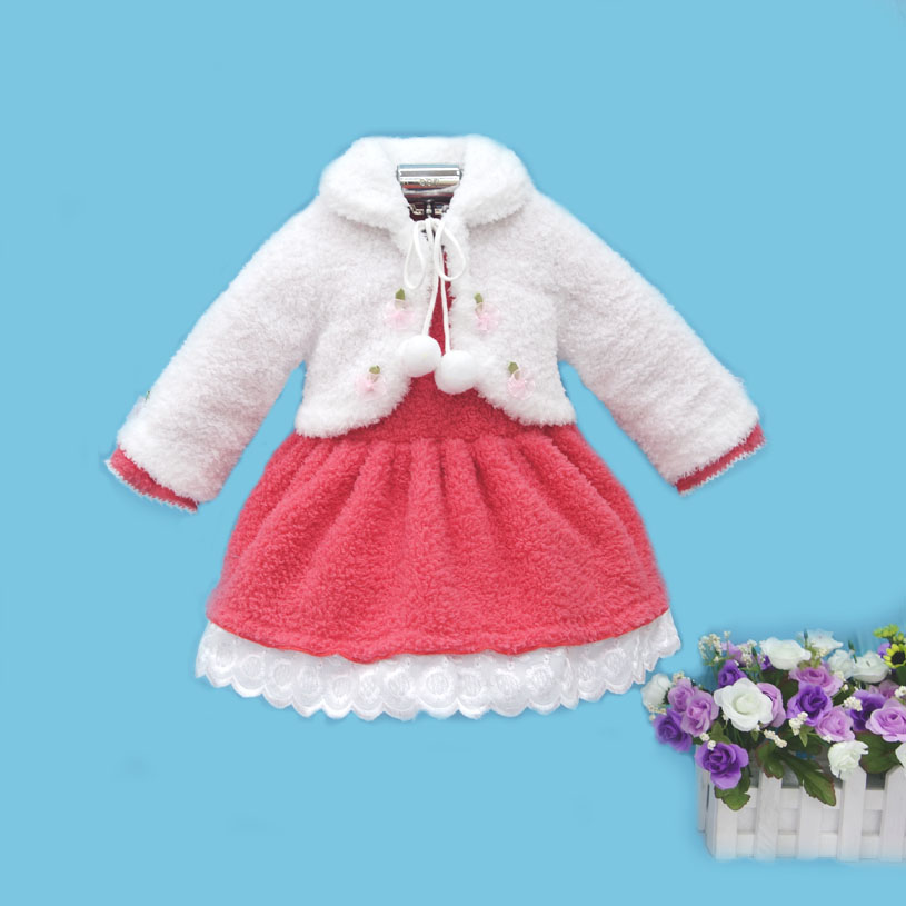 2017 Little Q coral fleece long sleeve baby princess clothes warm winter 2 pieces blouse fashion kid clothing children apparel