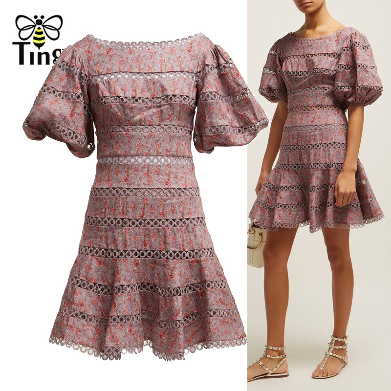 Tingfly 2019 Designer Style dentelle Patchwork évider Mini robe manches bouffantes robes de soirée courtes vestidos de fiesta de noche