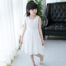 2017 New Arrival Sweet Girl Lace Dress Baby Girls Princess Lace Party Dress Sleeveless Wedding Evening Party costumes clothes
