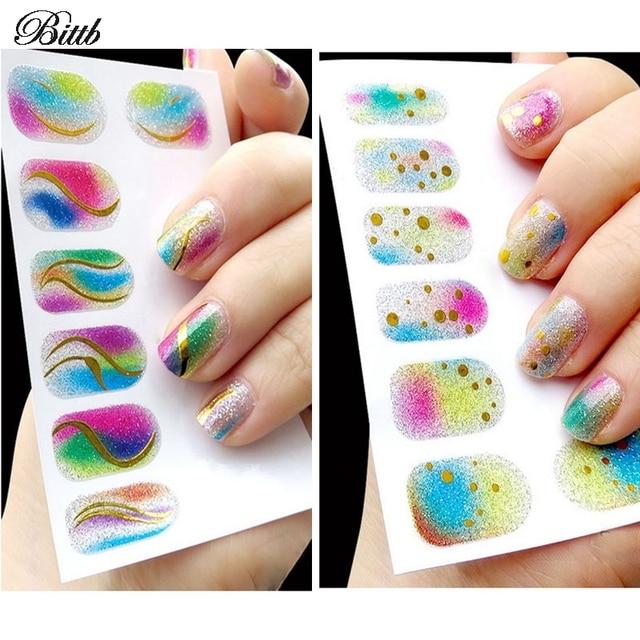 Bittb 2pcs Nail Sticker Nail Polish Gel Foils Colorful Adhesive ...