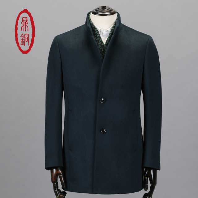DINGTONG Men's 100% Wool Trench Coat Fashion Stand Collar Single Breasted Mens Overcoat Casual Spring Jacket Coats manteau homme