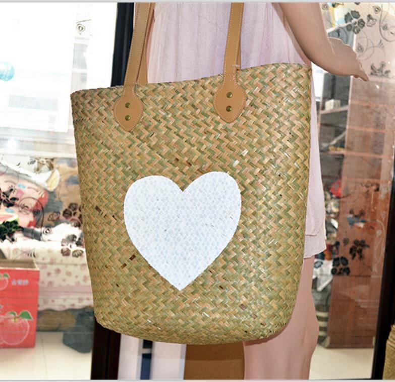 Natural mat bag water grass bag (Barcelona, Spains favourite ) Vertical straw big handbags A2328