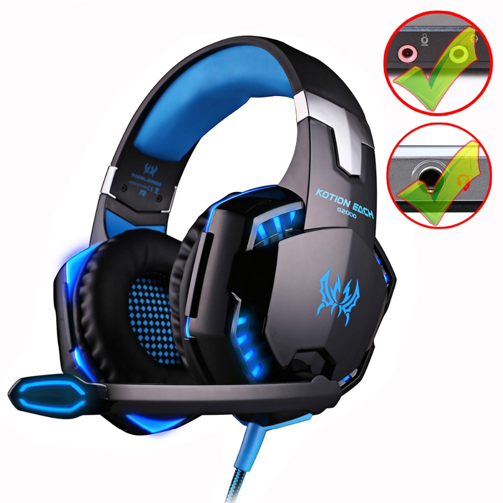 KOTION EACH G2000/G9000 Gaming Headset Deep Bass Stereo Computer Game Headphones with microphone LED Light PC professional Gamer high quality each g2000 gaming headset deep stereo bass computer game headphones with microphone led light for computer pc gamer