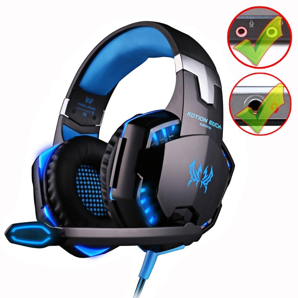 KOTION EACH G2000/G9000 Gaming Headset Deep Bass Stereo juego de ordenador auriculares con micrófono luz LED PC Gamer profesional
