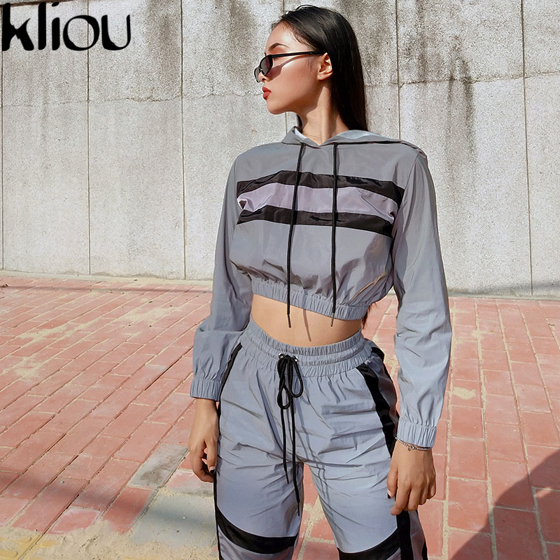 Kliou 2018 new arrival women Reflective two pieces sets Silver pactwork ctop top sweatshirts elastic drawstring pants tracksuits(China)