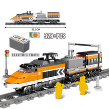 KAZI Technic Battery Powered Electric Compatible MOC Classic City Train Rail Building Blocks Bricks Technician Toys(China)