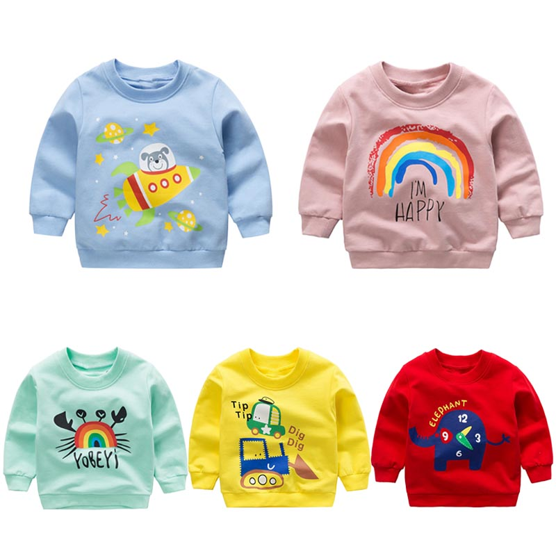 Baby Boys Girls Sweatshirts Autumn Spring Cartoon Cotton Tops Children Baby Long Sleeve Sweatshirt Blouse Children Clothes New(China)
