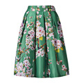 Floral Print High Waist Pleated Women Skirt American Style Elastic Waist Elegant Vintage Casual Skirts for Holiday 2016 Autumn