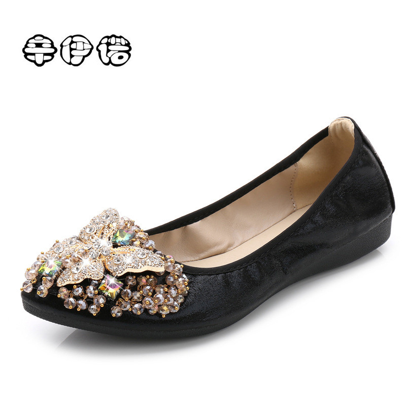 Creepers Hot Sale Pu Dress Slip-on Solid Rubber New Fashion 2017 Flats Shoes Ballet Princess For Crystal Boat Plus Size 34-43 best new product on sale 30