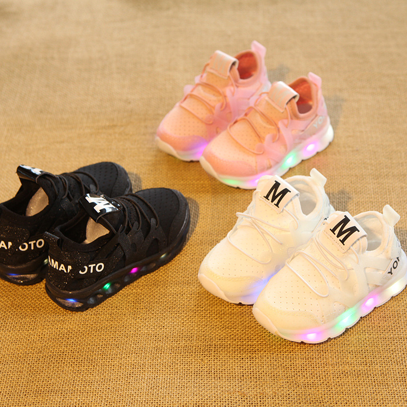 2017 New fashion cool net children sneakers LED lighting casual children casual shoes slip on glowing kids baby girls boys shoes