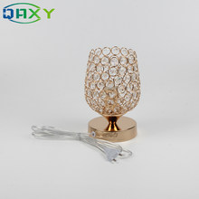 Included 12w LED Bulb E27 Cup-shaped Table Light With Clear Crystal Plated Plated Gold Bedside Desk Lamp Bedroom Lighting[T8508](China)
