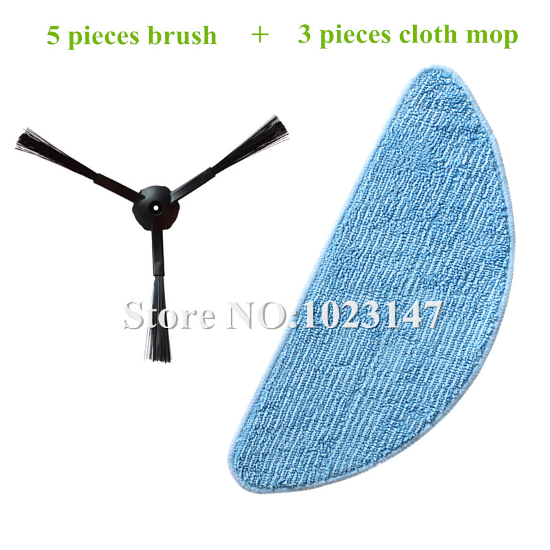 5x Side Brush kit + 3x Cleaning Mop Cloth Replacement for ilife v7 chuwi v7 Robotic Vacuum Cleaner chuwi ilife v7 cleaning cloth hand tool cover sock x 5 for karcher sc 1402 sc1402 steam cleaner