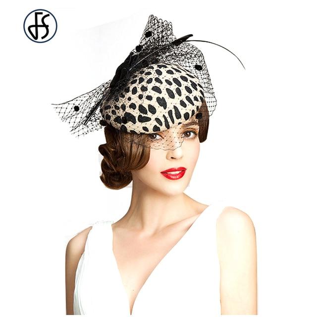 Elegant Australian Wool Vintage Pillbox Hat Women Leopard Gauze Patchwork Fedora Wedding Fascinators Party Felt Cap