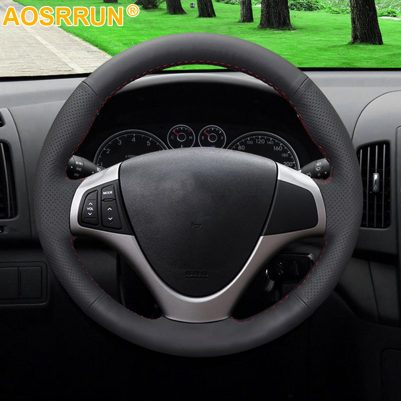 Image 2 - AOSRRUN Black Artificial Leather Car Steering Wheel Cover For Hyundai I30 2008 2009 2010 FD Car Accessories Styling-in Steering Covers from Automobiles & Motorcycles