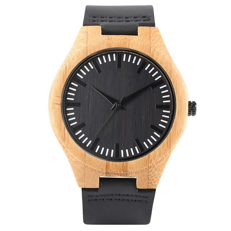 New Arrival Hand-made Quartz Bamboo Wooden Watches Mens Cost-effective Cool Black Genuine Leather Watchband Gift Watch Female