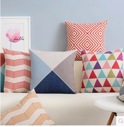 Geometric Throw PillowCase Modern Scandinavian Cushion Cover Red Simple Red And Blue Decorative Pillows