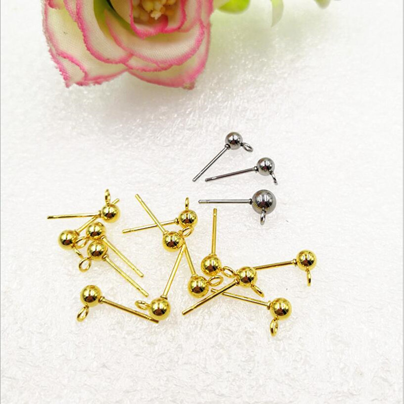 10pcs Stainless Steel Ball Studs Earring Pins Post Gold Rhodium Color Ear Stud with Loop f