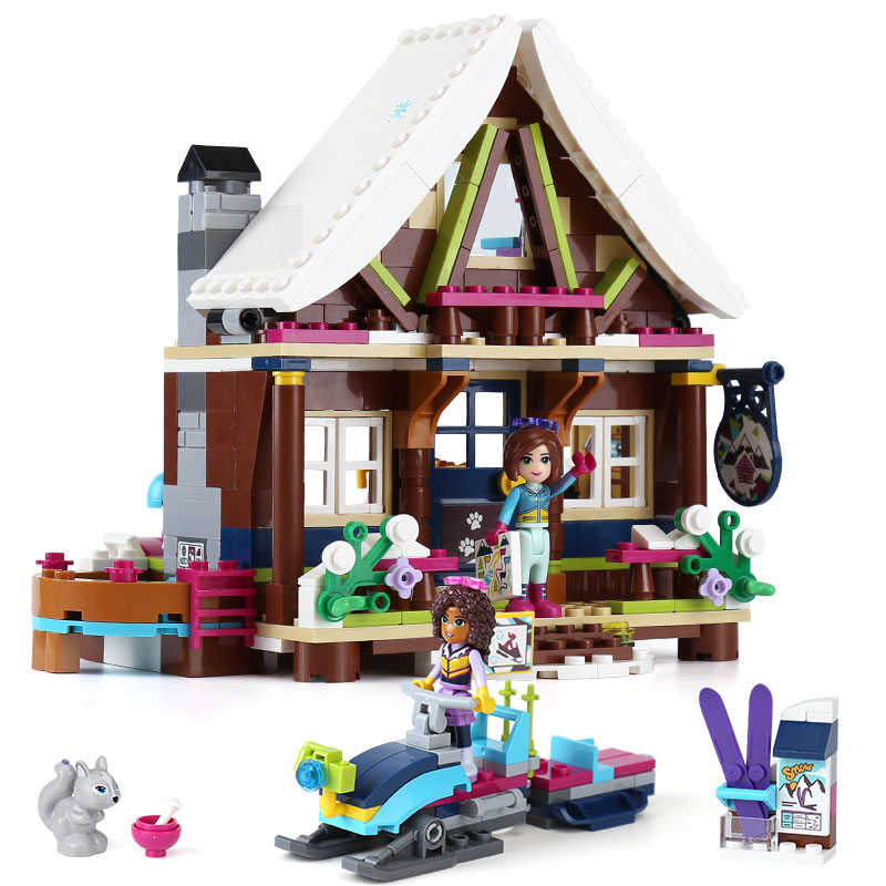 434pcs diy Compatible legoing Girls house toys Snow resort chalet Building Blocks Bricks toys for children kids Christmas gifts new diy model technical robot toys large particle building blocks kids figures toy for children bricks compatible lepins gifts